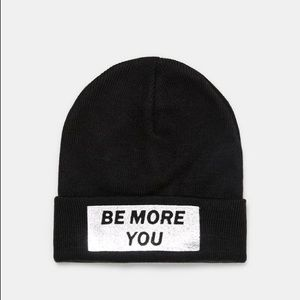 ZARA Accessories- Text Patch Knit Beanie NWT M Blk